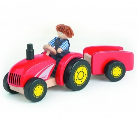 Red Wooden Tractor & Trailer image #1