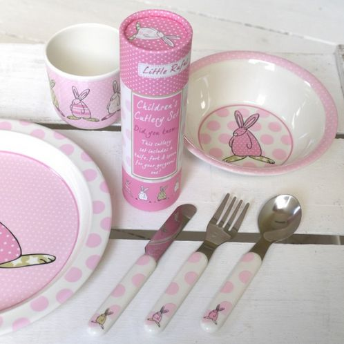 Rufus Rabbit Cutlery Set - Girl image #1