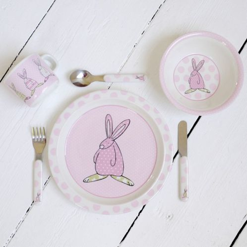 Rufus Rabbit Melamine Gift Set - Girl image #1