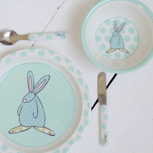 Rufus Rabbit Melamine Gift Set - Boy image #1