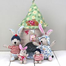 Fabric Rabbit House & Family