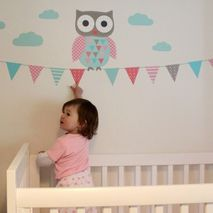 Owl & Bunting Wall Sticker