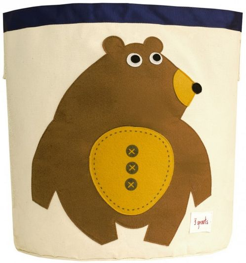 Applique Brown Bear Storage Bin image #1