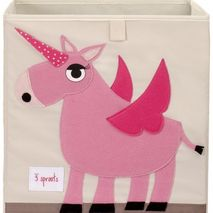 Canvas Toy Storage Box Pink Unicorn