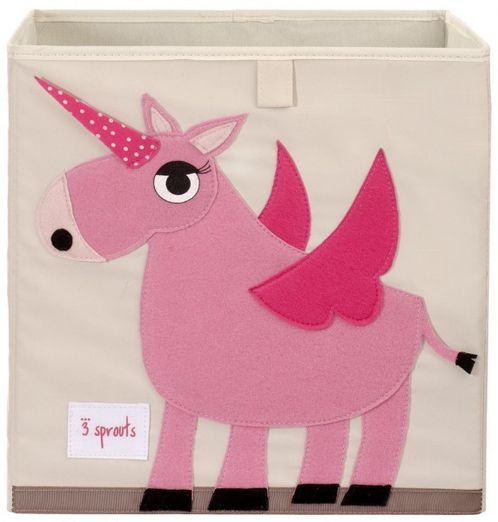 Canvas Toy Storage Box Pink Unicorn image #1