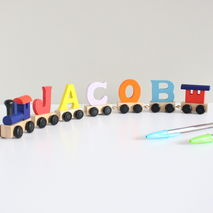 Personalised Coloured Wooden Name Train