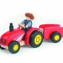 Red Wooden Tractor & Trailer